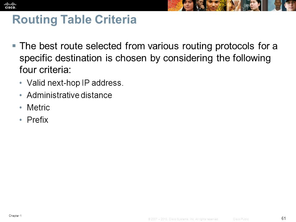 Routing Table Criteria