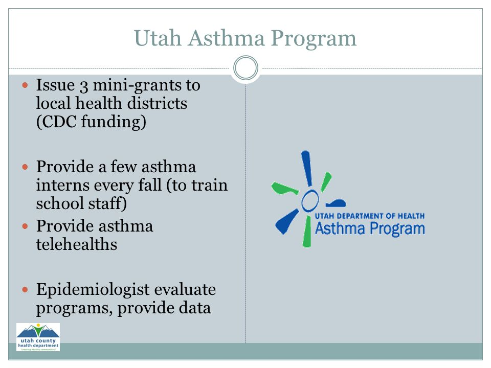 Utah Asthma Program Issue 3 mini-grants to local health districts (CDC funding) Provide a few asthma interns every fall (to train school staff)