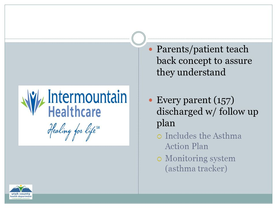 Parents/patient teach back concept to assure they understand