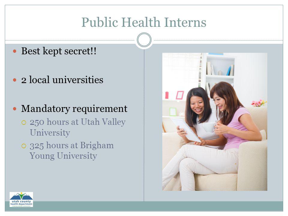 Public Health Interns Best kept secret!! 2 local universities