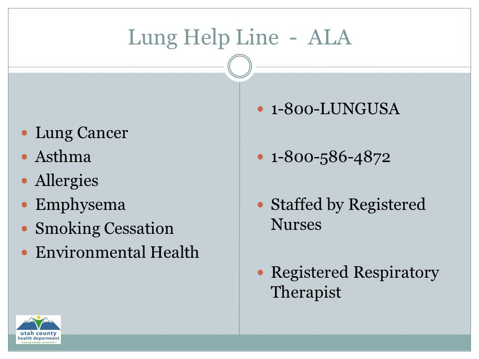 Lung Help Line - ALA Lung Cancer Asthma Allergies Emphysema