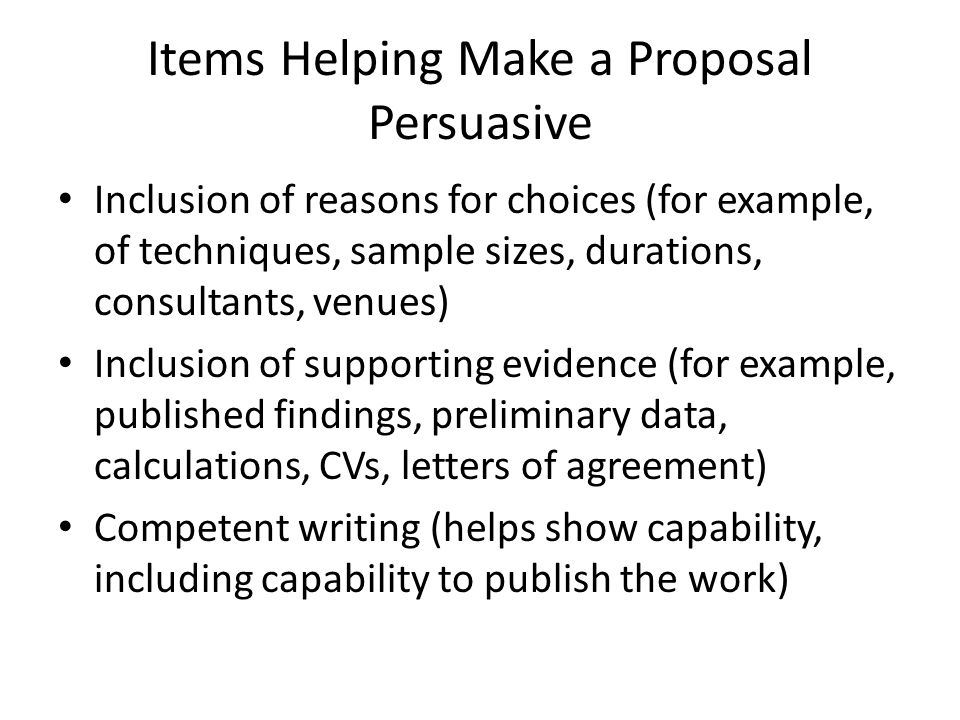 Items Helping Make a Proposal Persuasive