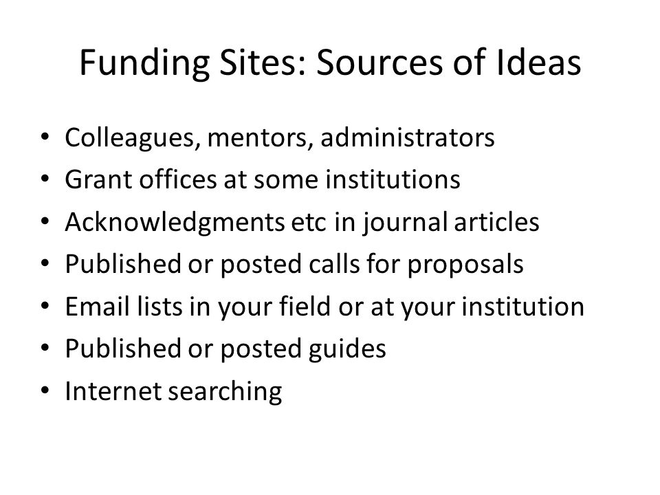 Funding Sites: Sources of Ideas