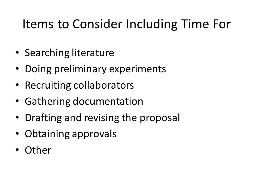 Items to Consider Including Time For
