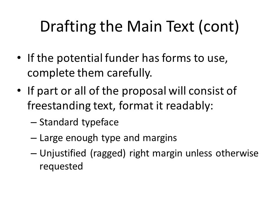 Drafting the Main Text (cont)