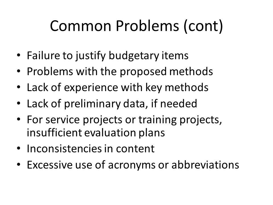 Common Problems (cont)