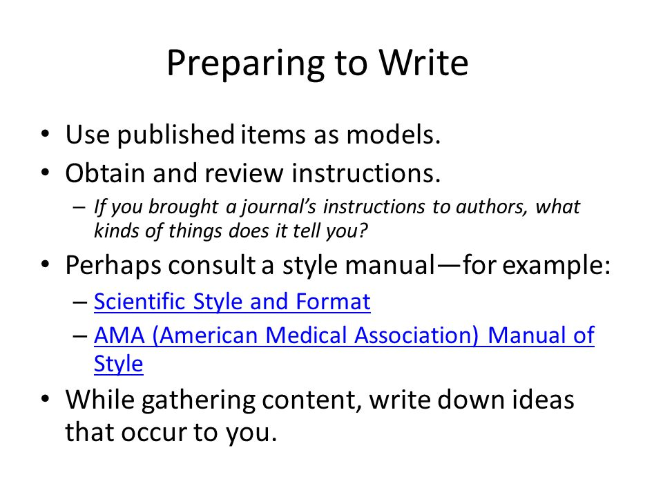 Preparing to Write Use published items as models.
