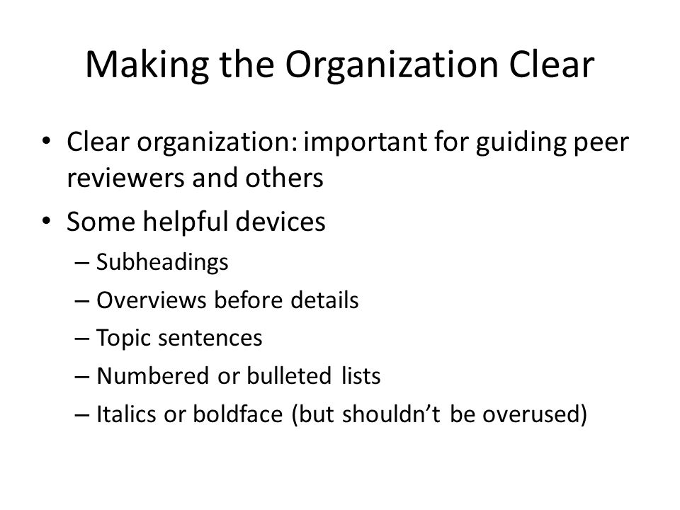 Making the Organization Clear