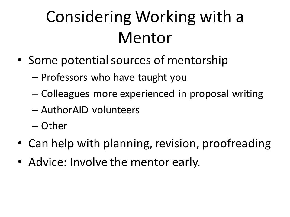 Considering Working with a Mentor