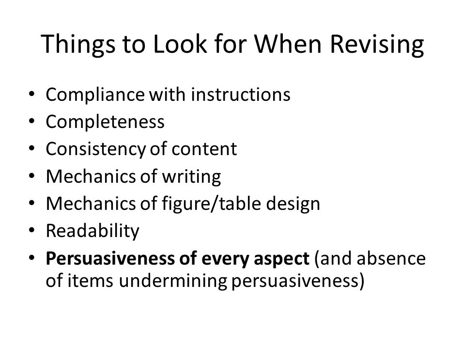 Things to Look for When Revising