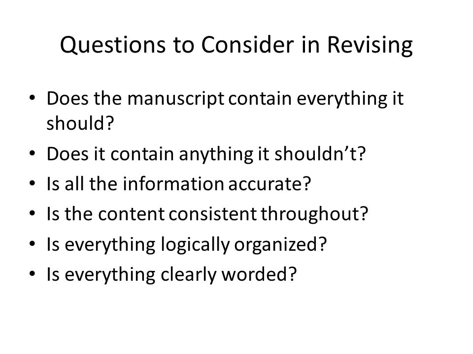Questions to Consider in Revising