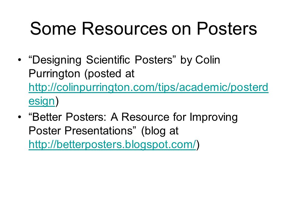 Some Resources on Posters
