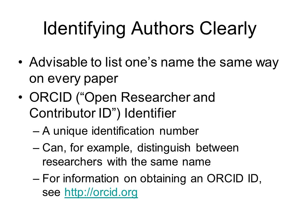 Identifying Authors Clearly