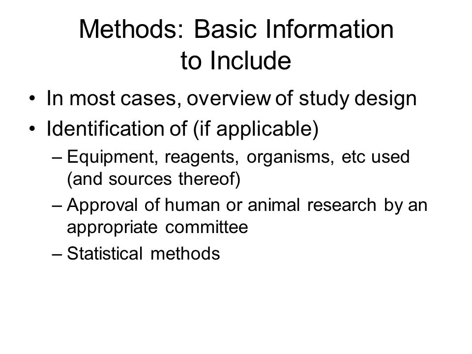 Methods: Basic Information to Include