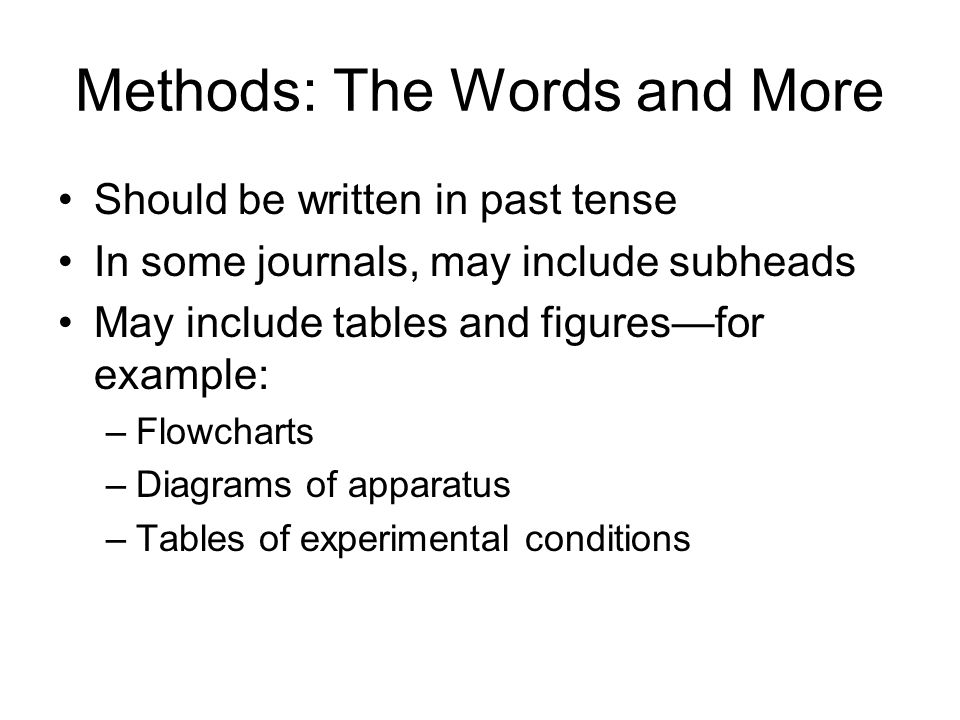 Methods: The Words and More