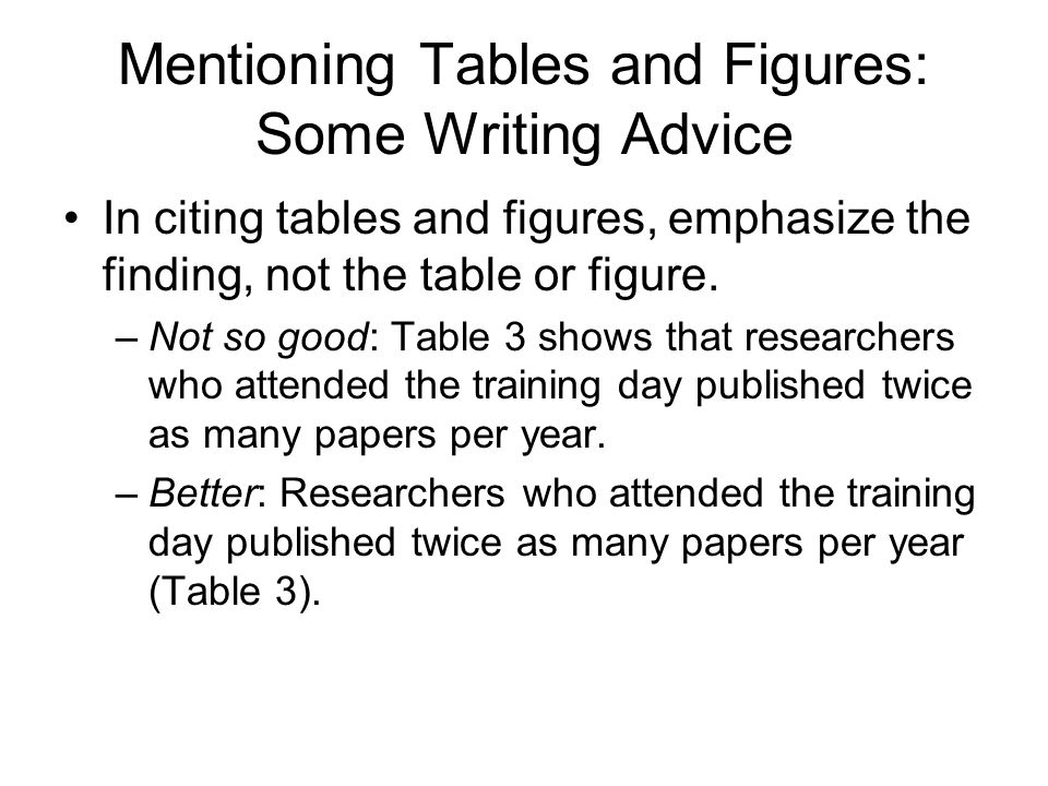 Mentioning Tables and Figures: Some Writing Advice