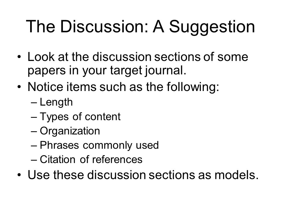 The Discussion: A Suggestion