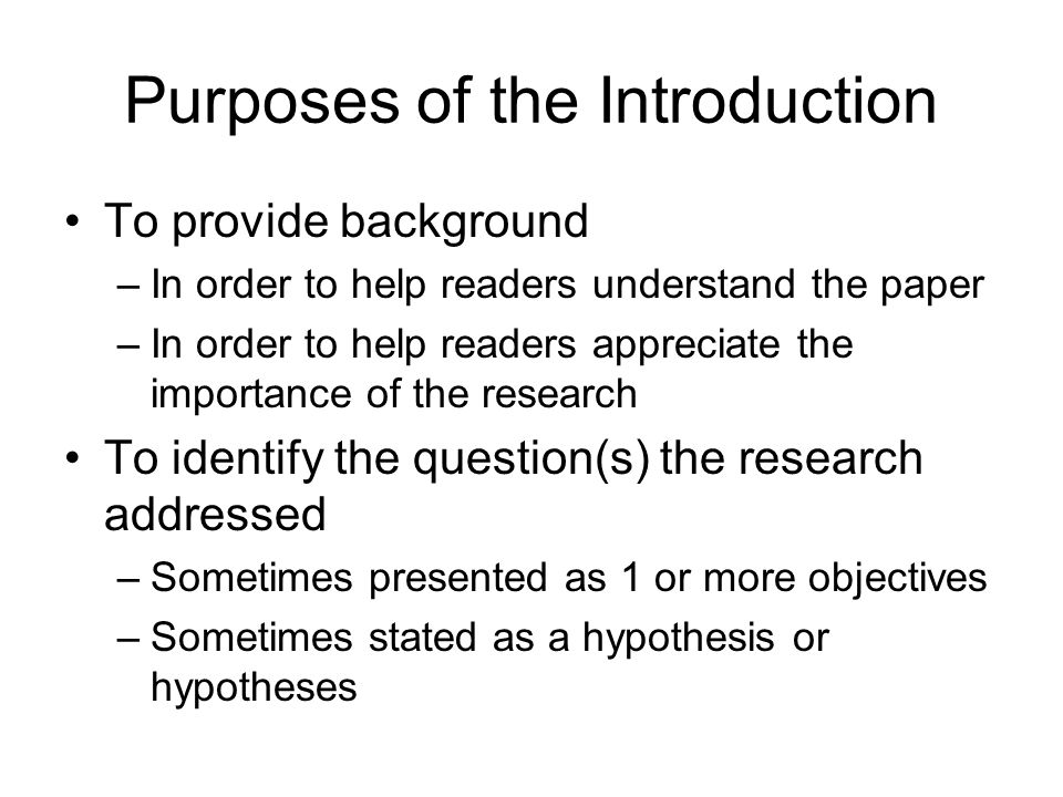 Purposes of the Introduction