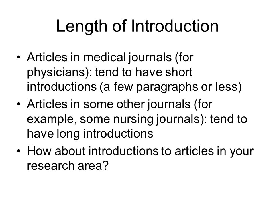 Length of Introduction