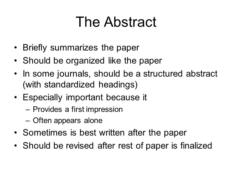 The Abstract Briefly summarizes the paper