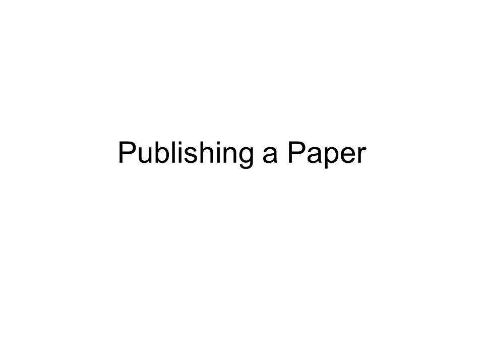 Publishing a Paper