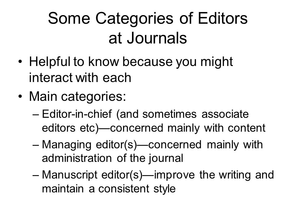 Some Categories of Editors at Journals
