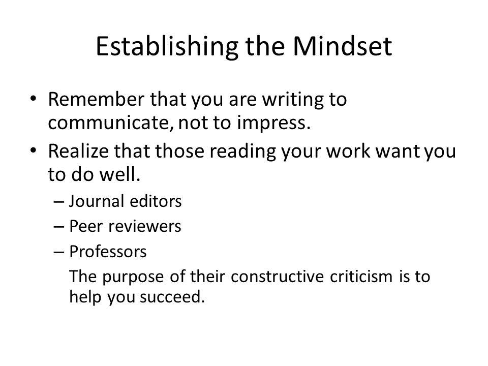 Establishing the Mindset
