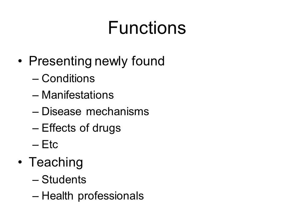 Functions Presenting newly found Teaching Conditions Manifestations