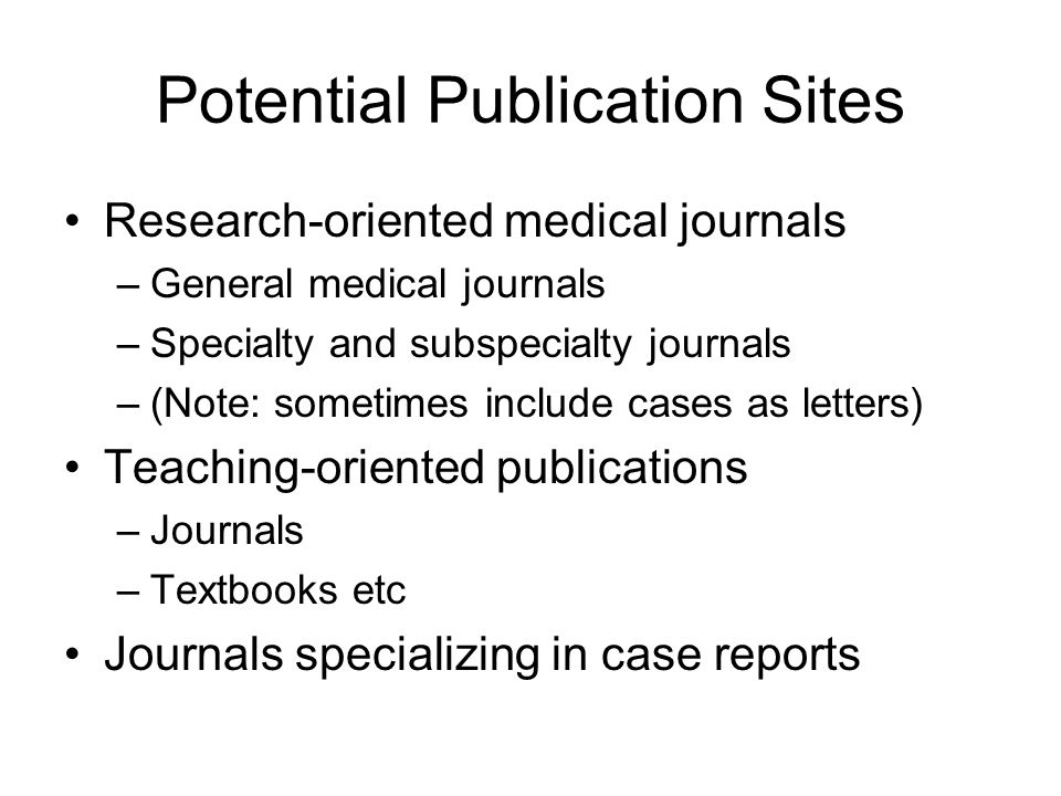 Potential Publication Sites