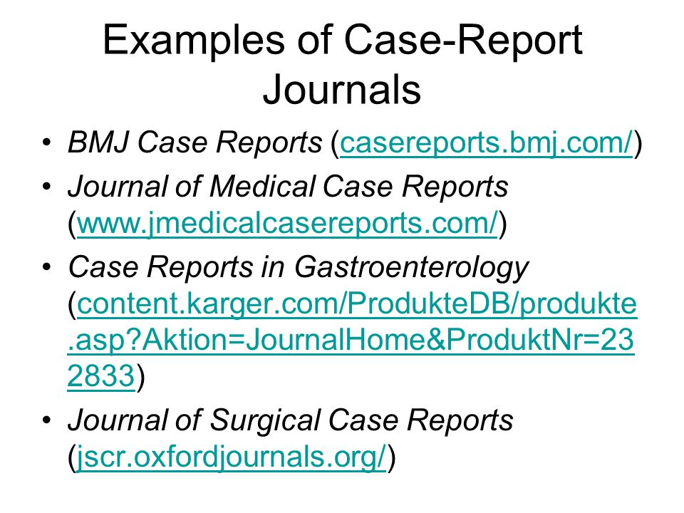 Examples of Case-Report Journals