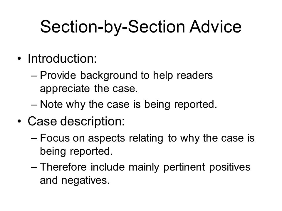 Section-by-Section Advice