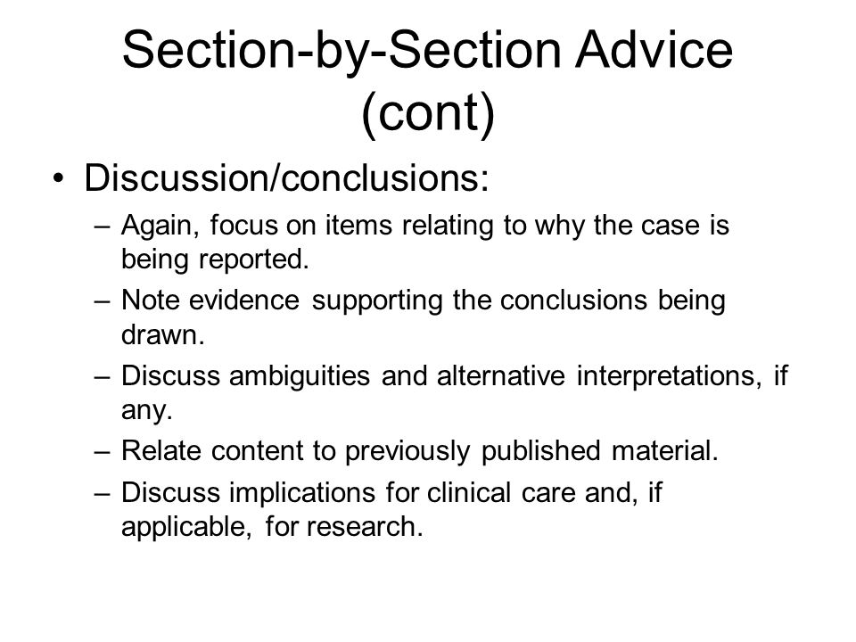 Section-by-Section Advice (cont)