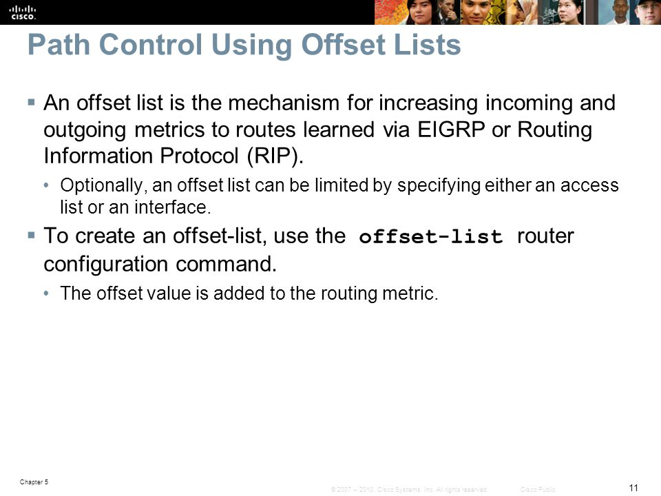 Path Control Using Offset Lists