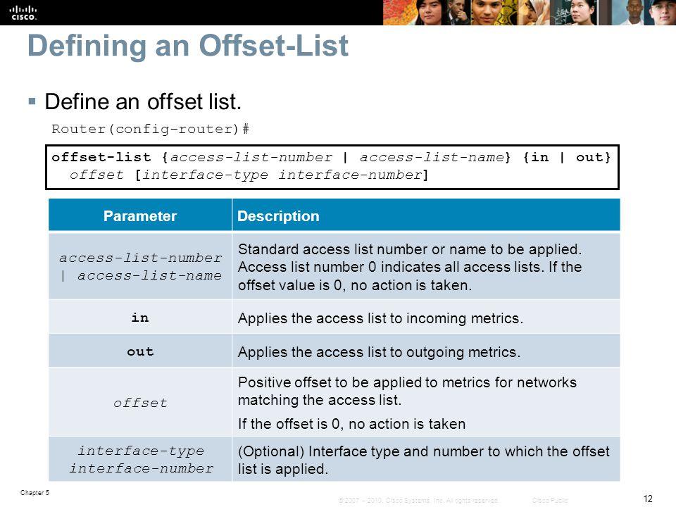 Defining an Offset-List