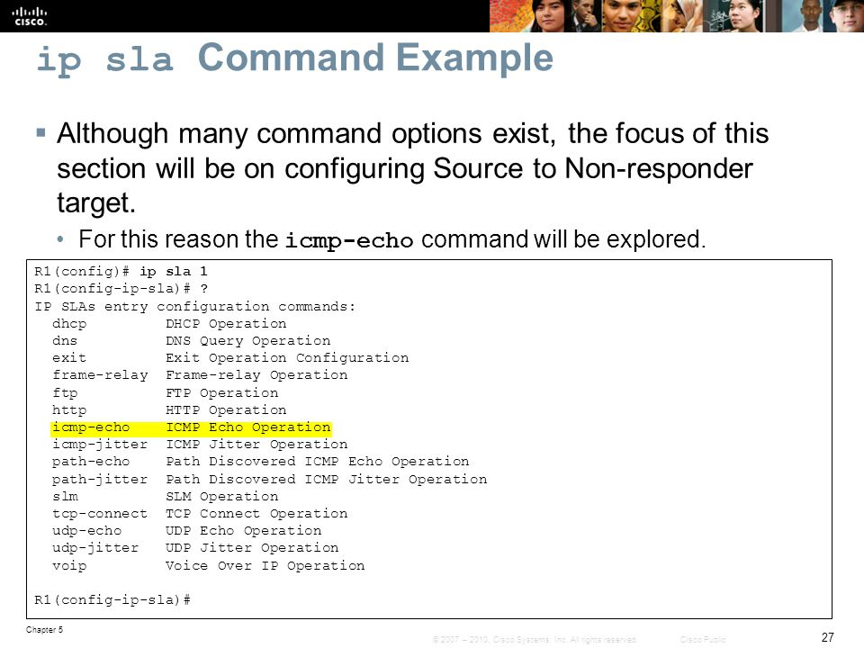 ip sla Command Example Although many command options exist, the focus of this section will be on configuring Source to Non-responder target.