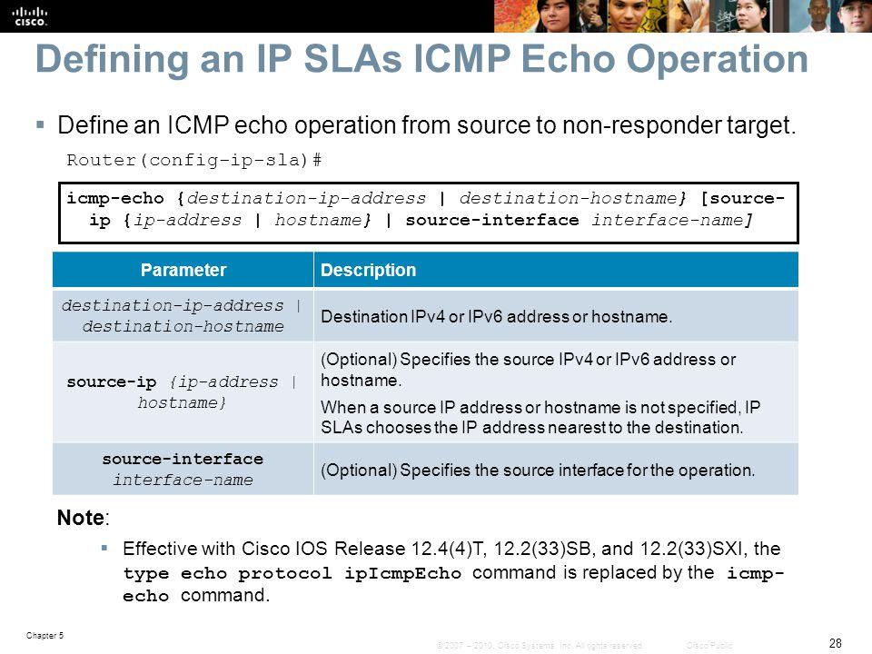 Defining an IP SLAs ICMP Echo Operation