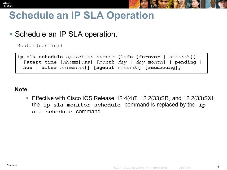 Schedule an IP SLA Operation
