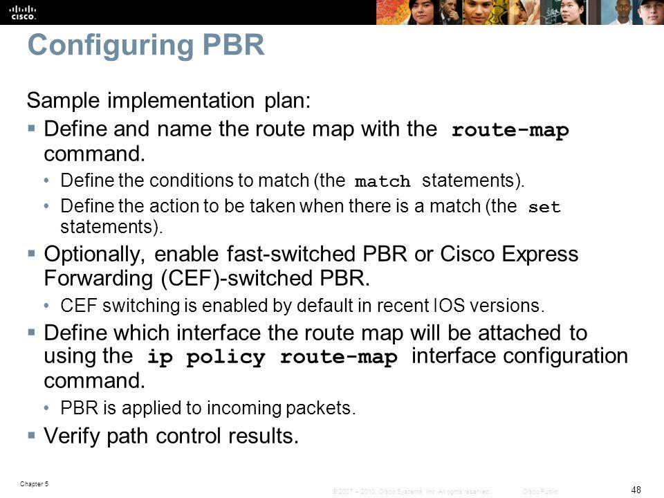 Configuring PBR Sample implementation plan: