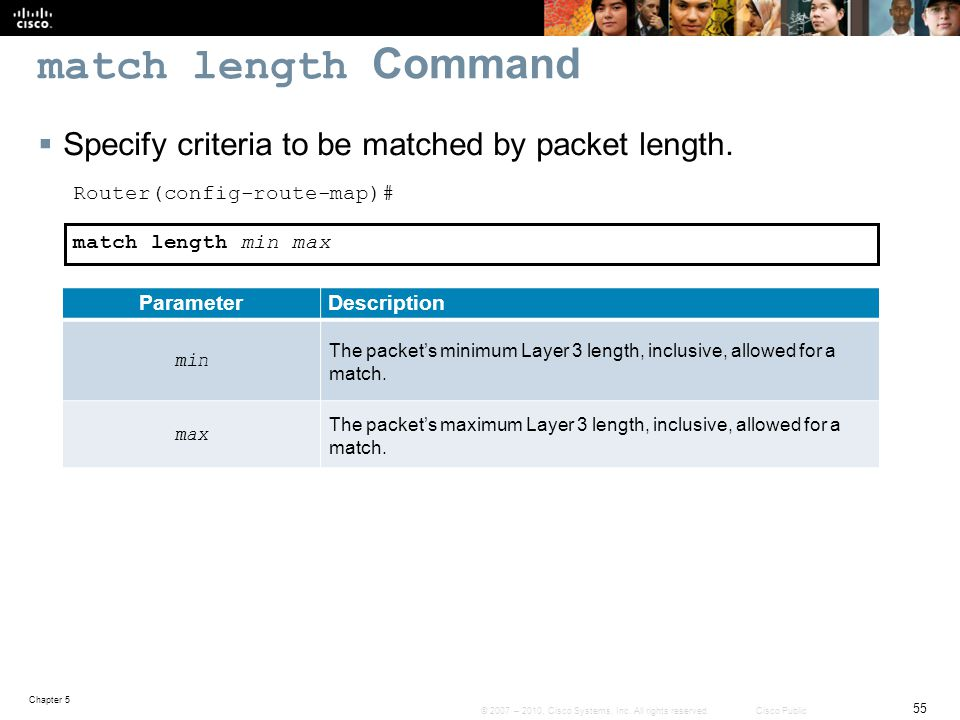 match length Command Specify criteria to be matched by packet length.