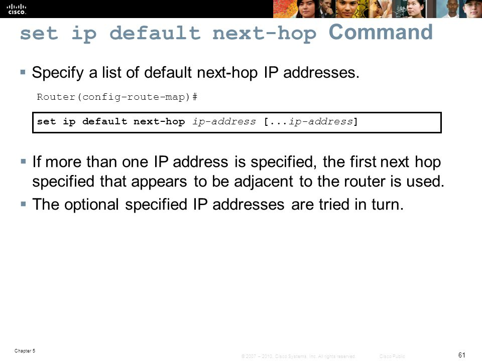 set ip default next-hop Command