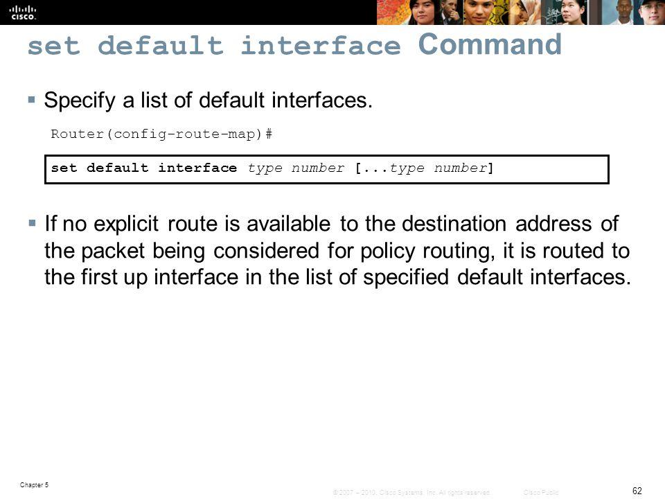 set default interface Command