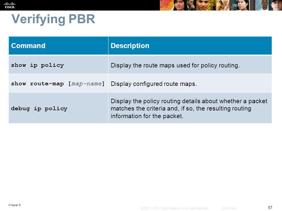 Verifying PBR Command Description show ip policy