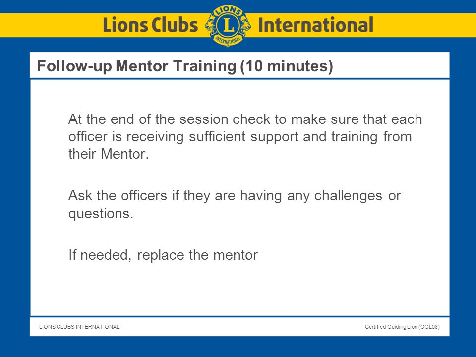 Follow-up Mentor Training (10 minutes)