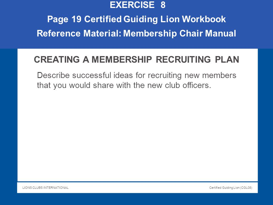 Page 19 Certified Guiding Lion Workbook
