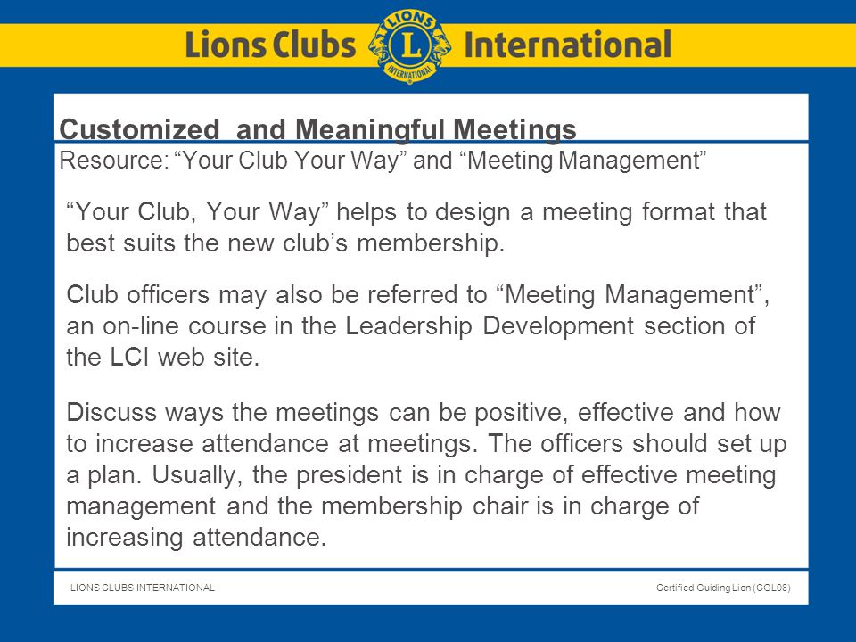 Customized and Meaningful Meetings Resource: Your Club Your Way and Meeting Management