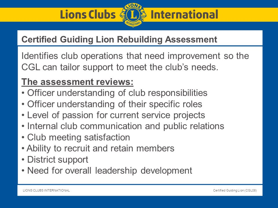 The assessment reviews: Officer understanding of club responsibilities