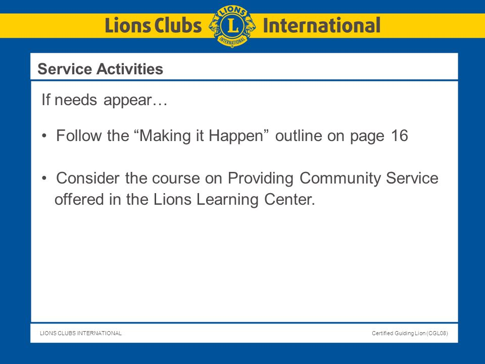 Follow the Making it Happen outline on page 16