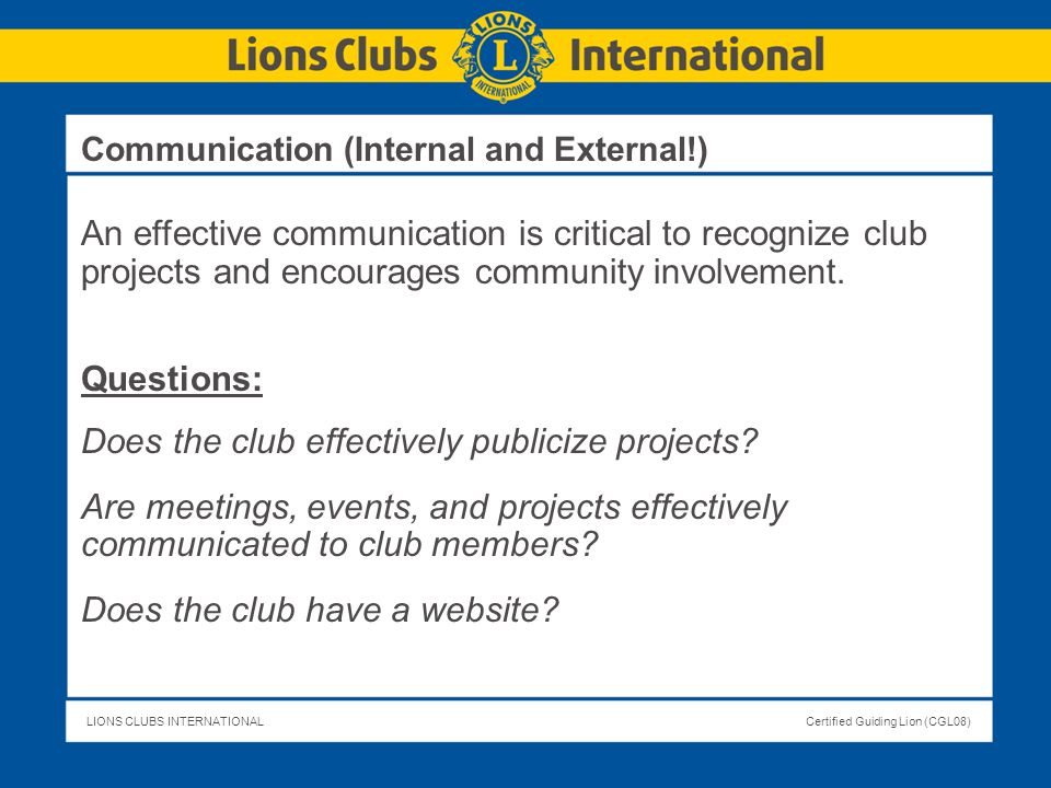 Does the club effectively publicize projects