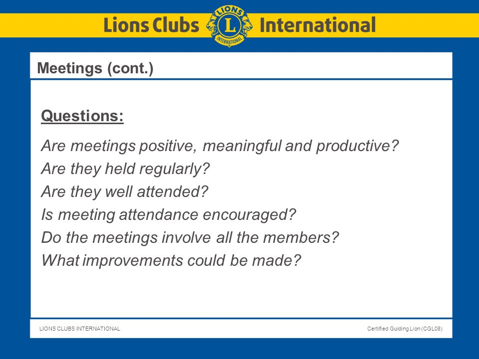 Are meetings positive, meaningful and productive