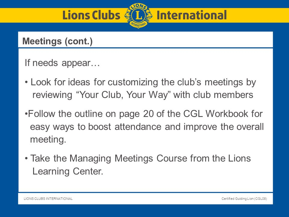 Look for ideas for customizing the club's meetings by